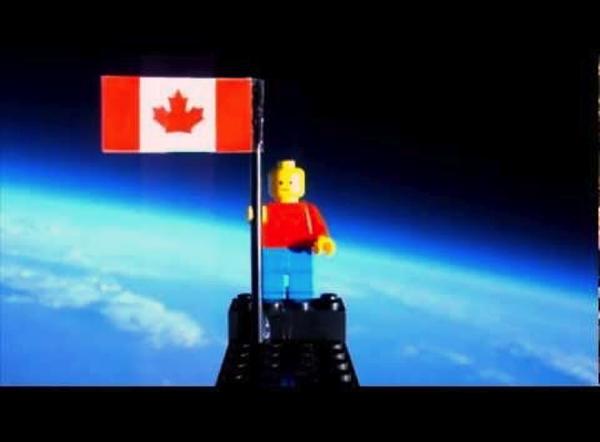 Lego figure on amateur high altitude balloon