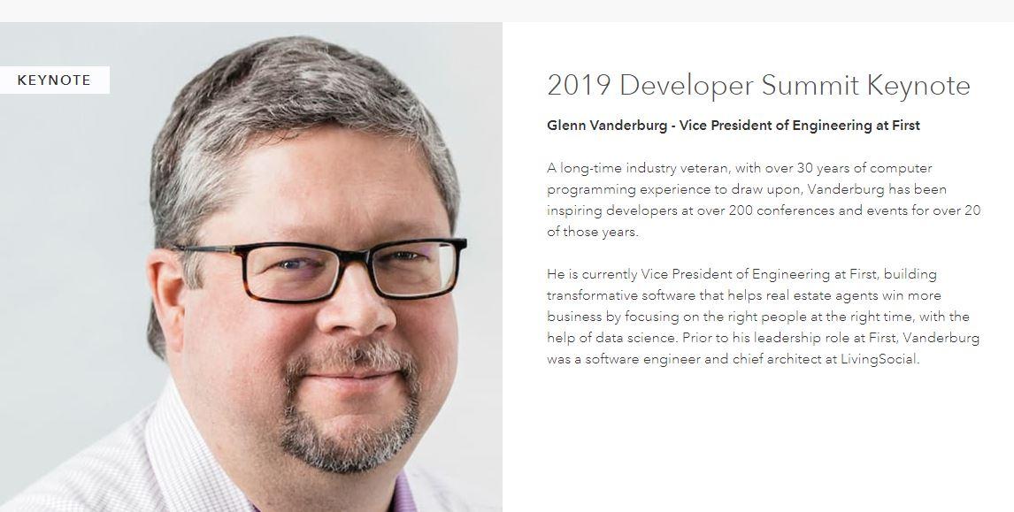 Esri DevSummit 2019 - Keynote Speaker, Glenn Vanderburg